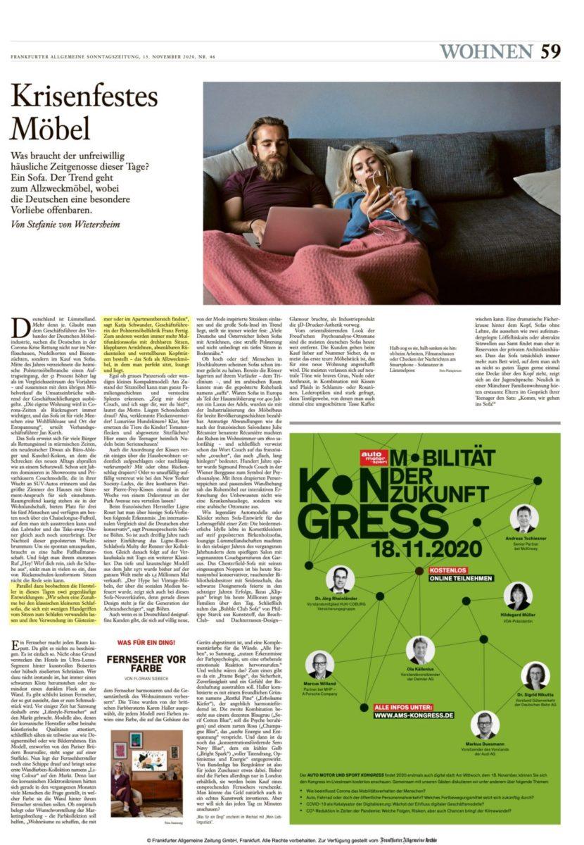 Frankfurter Allgemeine Sonntagszeitung 2020 11 15 Franz Fertig